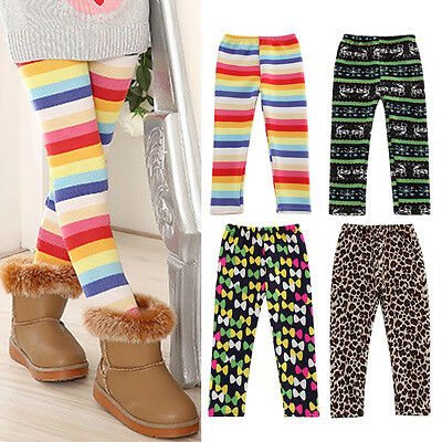 Girls Winter Warm Thick Leggings Fleece Kids Rainbow Trousers Pants for 2-6Y