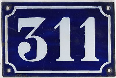 Old blue French house number 311 door gate plate plaque enamel metal sign c1900
