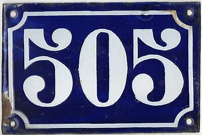 Old blue French house number 505 door gate plate plaque enamel metal sign c1900