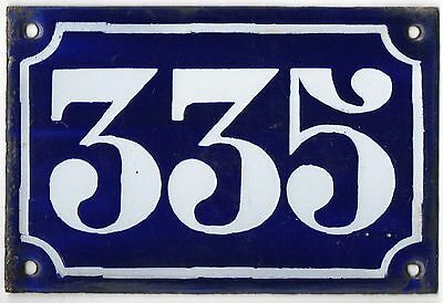 Old blue French house number 335 door gate plate plaque enamel metal sign c1900