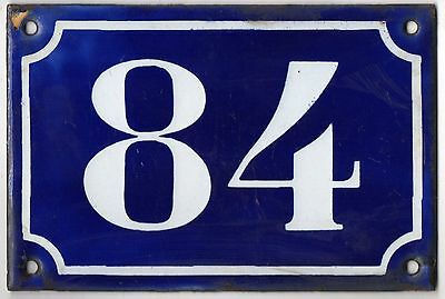 Old blue French house number 84 door gate plate plaque enamel metal sign c1900