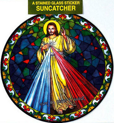 Divine Mercy Stained Glass Sun Catcher Sticker Statues Candles Pictures Listed