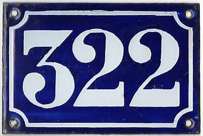 Old blue French house number 322 door gate plate plaque enamel metal sign c1900