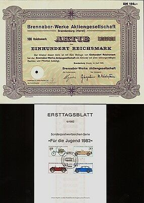 BRENNABOR WORKS Automobiles Germany w 1st Day Issue Postage Stamps
