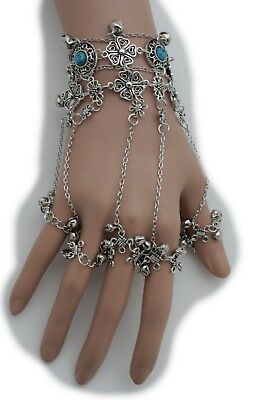 New Women Black Metal Hand Chain Slave Bracelet Ring Wide Lace Gothic Halloween