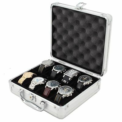 8 Watch Case for Collectors Briefcase Store Safe Aluminum Handle TSBOXAL08-TEX