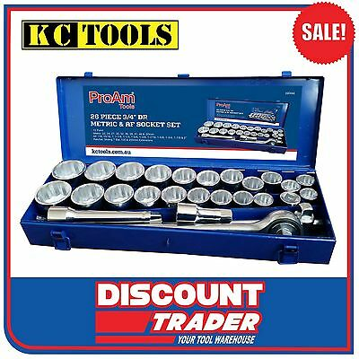 """ProAm by KC Tools 26 Piece 3/4"""" Drive Metric & Imperial Socket Set - 19344"""