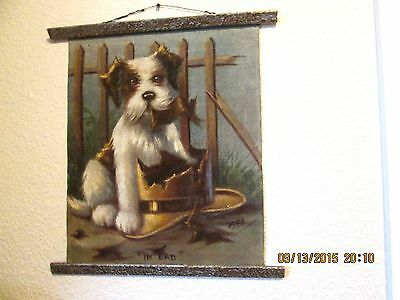 "Dog Picture In Pastels On Canvas, Dated 1943.  ""in Bad"" A Really Cute One!"