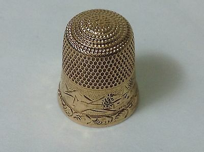 Antique Vintage 14K solid yellow gold Ornate thimble sz 8 - 3.8g