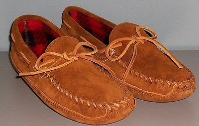 Minnetonka Mens Moccasins Suede Brown Fleece Lining M10