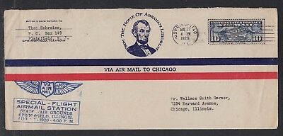 Usa 1926 First Flight Cover Ffc Abraham Lincoln Springfield Illinois To Chicago
