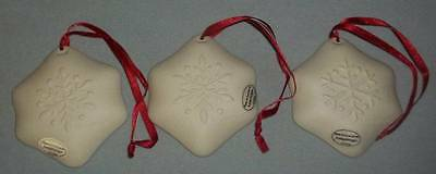 NIB 3 Longaberger Pottery Snowflake Cookie Mold Christmas Ornaments