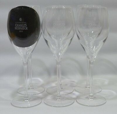 "PIPER-HEIDSIECK CHAMPAGNE 6 Verres flute coupe 28 cl ""Charles Heidsieck"" NEUF"