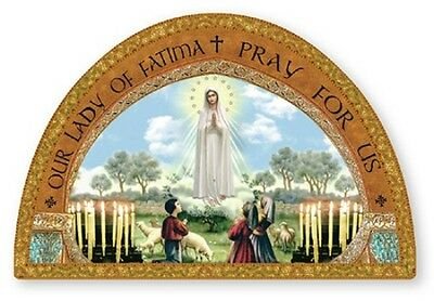 Our Lady Of Fatima Gold Foil Wooden Plaque / Picture Statues Candles Also Listed