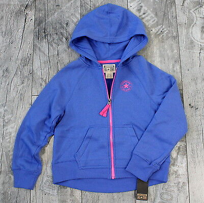 Converse Gr 140/152 Kinder Mädchen Zip Through Hoodie Kapuzenpullover Blau D012
