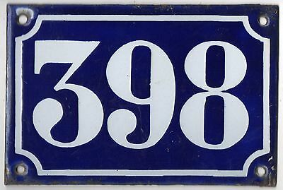 Old blue French house number 398 door gate plate plaque enamel metal sign c1900