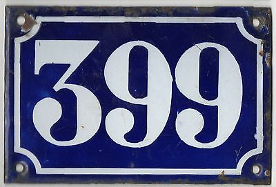 Old blue French house number 399 door gate plate plaque enamel metal sign c1900