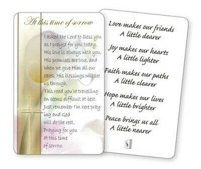 At This Time Of Sorrow I Asked The Lord To Bless You Laminated Verse Prayer Card