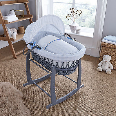 New Clair De Lune Blue Speckles Padded Grey Wicker Baby Moses Basket & Mattress