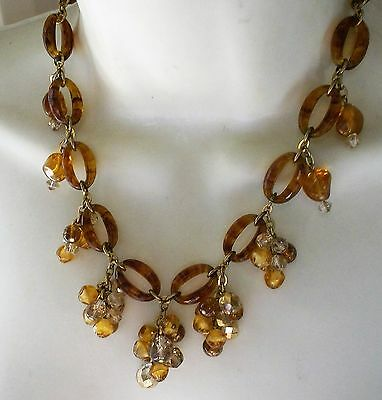 Vintage 1960S Gold Tone Amber Lucite Faceted Glass Bead Drop Necklace