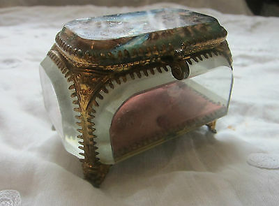 """19th Century French Glass & Gold Gilt Toleware Trinket Pot""""Vaucluse"""""""