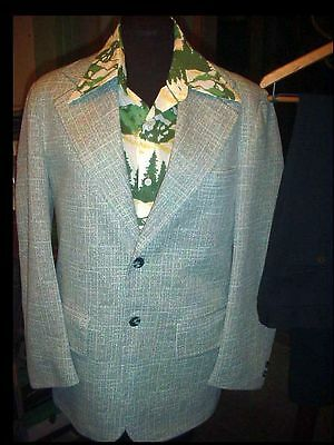 Vtg 70s MEN'S Polyester UGLY Green SUIT DISCO Mod 3pc 40 w/32 PANTS & SHIRT