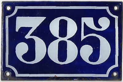 Old blue French house number 385 door gate plate plaque enamel metal sign c1900