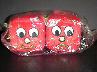 "Blockheads Plush Pair 2 1/2"" Fuzzy Dice - New Unopened - Mint 2002 - Original"