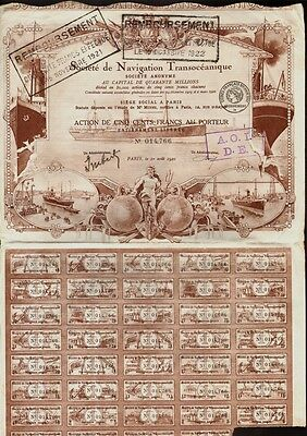 FRANCE MARITIME : Soc. de Navigation Transoceanique Paris dd 1920