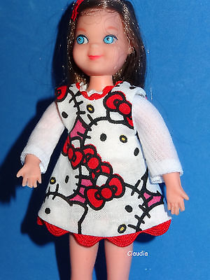 Vintage Brunette Tutti Doll from Me and My Dog in OOAK Hello Kitty Outfit CUTE!