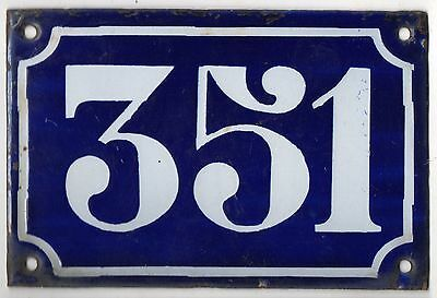 Old blue French house number 351 door gate plate plaque enamel metal sign c1900