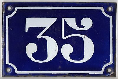 Old blue French house number 35 door gate plate plaque enamel metal sign c1900