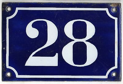 Old blue French house number 28 door gate plate plaque enamel metal sign c1900