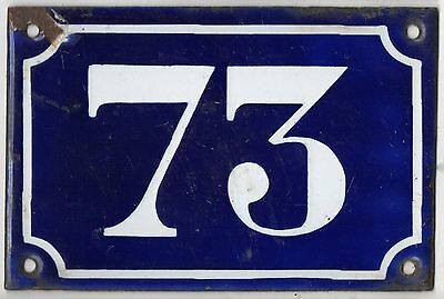 Old blue French house number 73 door gate plate plaque enamel metal sign c1900