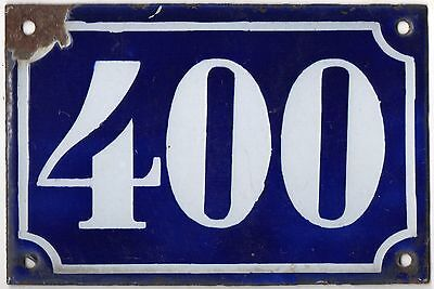 Old blue French house number 400 door gate plate plaque enamel metal sign c1900