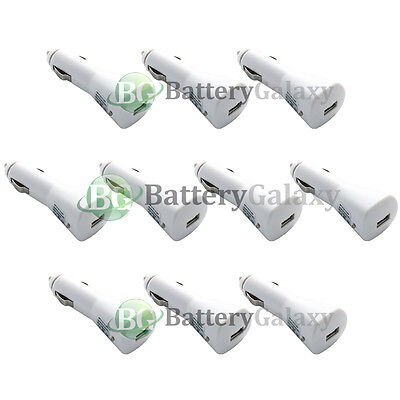 10 White USB Car Charger Plug for Samsung Galaxy Note 5 S6 S7 Edge Plus Active