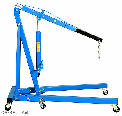 2 Ton Tonne Hydraulic Folding Engine Crane Hoist Lift Stand Wheels 2000kg Garage