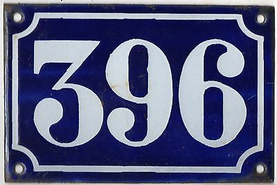 Old blue French house number 396 door gate plate plaque enamel metal sign c1900
