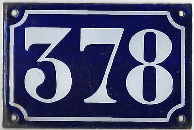 Old blue French house number 378 door gate plate plaque enamel metal sign c1900