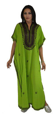 Moroccan Caftan Kaftan Women African Beach Summer Long Dress Green