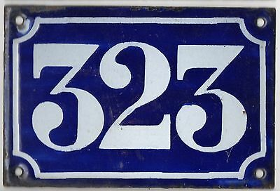Old blue French house number 323 door gate plate plaque enamel metal sign c1900