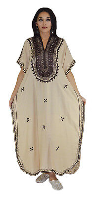 Moroccan Caftan Kaftan Women African Beach Summer Long Dress Beige