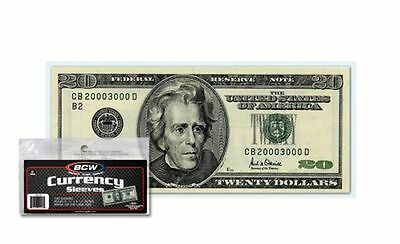 Pack of 100 BCW Small Modern Currency Soft 2-Mil Acid Free Poly Sleeves