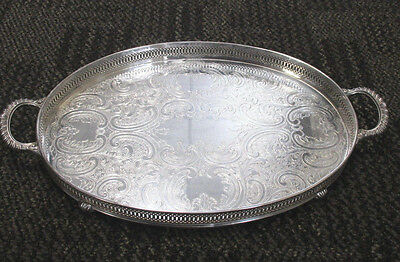 Vintage GORHAM SILVER PLATE OVAL CHASED GALLERY or VANITY TRAY Footed w/HANDLES