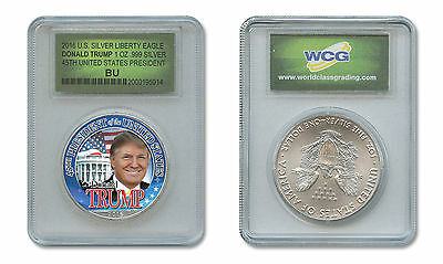 DONALD J. TRUMP 45th President 1 oz American .999 Silver Eagle in Slabbed Holder