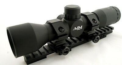 Aim 4X32 Sniper Mil Dot Scope Kit For Ruger Mini 14 Ranch Rifle With Rail Rings