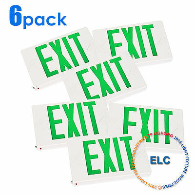 6pack LED Green Emergency Exit Fire Light Sign with Modern Battery Backup UL924