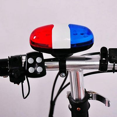 Bicycle 6 LED 4Tone Sound Bike Bell PoliceCar Light Electronic Horn Siren NEW