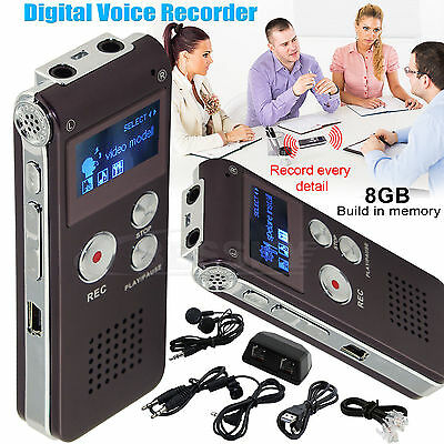 Rechargeable 8GB 13Hr Digital Sound Voice Recorder Dictaphone MP3 Player record