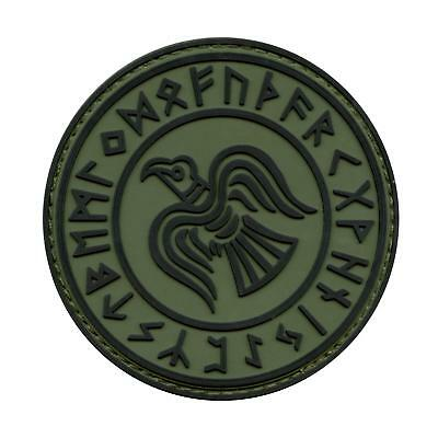 norse viking raven odin god of war runes runic olive drab green fastener patch